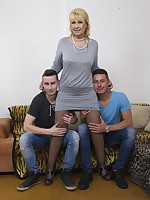 Two guys do a naughty mature lady
